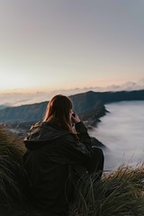 Bromo sunrise (Lena_Steinke) Tags: bromo sunrise indonesia mountains volcano volcanos mount fog morning night java east malang king kong hill viewpoint landscape portrait photography sitting person woman