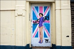History - DSCF2111a (normko) Tags: london islington pegasus mural street art stencil paint aerosol grafitti history doorway door tiara high heels purple legs