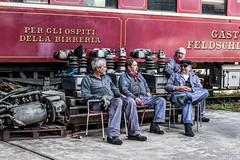 retired ? (Guy Goetzinger) Tags: train historic workers goetzinger d850 nikon pause zug personal rentner retired swiss brugg station unterhalt
