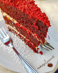 Red Velvet! (Arranion) Tags: food red velvet cake treat sweet cheat sugar coffee shop baked fork eat endulge