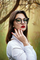 Gold Experience (Dan Bardloom) Tags: portrait people woman girl fog pose glasses woods smoke classy brunette