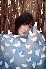 Etched Wings (Dan Bardloom) Tags: portrait people woman girl pose paper woods origami dress butterflies fabric tulle swarm brunette