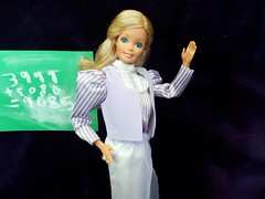 """Barbie Day-To-Night """"Teacher"""" #9085 from 1984 (VintageZealot) Tags: barbie mattel daytonight day to night 7929 9085 teacher 1984 1980s 80s vintage retro fashion doll clothing clothes outfit model modelling taiwan caucasian white blonde superstar super star jewelry diamond rhinestone crystal ring earrings lilac mauve purple lavender pumps satin skirt elastic metal snaps pinstripe blouse lace high neck vest sash belt tie poofy sleeves top shirt sheer"""