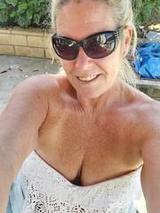 Backyard Rest (cjacobs53) Tags: jacobs jacobsusa sher sherry sun glass sunglasses freckle cleavage sexy milf gilf blonde back yard backyard selfie