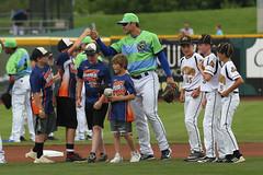 Fist bump (Minda Haas Kuhlmann) Tags: sports baseball milb minorleaguebaseball pacificcoastleague omahastormchasers nebraska omaha papillion sarpycounty outdoors chasedarnaud fans onfieldpromotions
