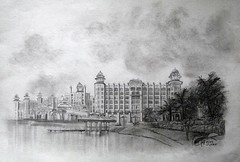PALACE BY THE LAKE (Sketchbook0918) Tags: palace resort hotel building architecture plants trees lake sketch drawing sky art