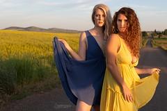 Janelle and Maygen (austinspace) Tags: woman portrait spokane washington friends model blond blonde redhead couple duo summer sunset clouds canola rapeseed