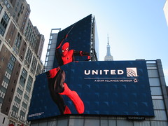 Spider-Man Far From Home Movie Poster Billboard AD 2200 (Brechtbug) Tags: toy story 4 theater poster billboard ad 34th street seventh ave nyc 2019 standee thanos bad guy imax june 06232019 pixar disney buzz lightyear woody cowboy computer animation cartoon character transportation herald square empire state building