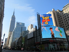 Toy Story 4 Poster Billboard AD 34th Street NYC 2164 (Brechtbug) Tags: toy story 4 theater poster billboard ad 34th street seventh ave nyc 2019 standee thanos bad guy imax june 06232019 pixar disney buzz lightyear woody cowboy computer animation cartoon character transportation herald square empire state building