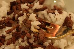 Food & Fork (Retro Photo International) Tags: macro macromondays stylingfoodonafork carlzeissjena tessar 50mm 35 food fork brass rice beef