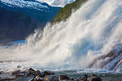 Nugget Falls (Tom Fenske Photography) Tags: juneau alaska nuggetfalls mendenhallglacier goldenhour tongassnationalforest glacierfalls mendenhalllakefalls waterfalls cascades snow ice mountains