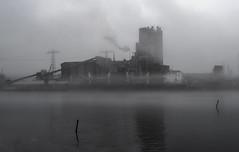 Industrial island (AstridWestvang) Tags: boat buoy factory fog harbour industry porsgrunn telemark