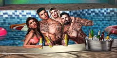 Pool Party (DiabhalsAingeal & Spikie Thorne) Tags: secondlifephotography secondlife focusposes signature gianni maitreya catwa cosmicdust event summer pool truth letre doux beer friends family