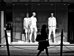 Summer fashion (明遊快) Tags: three monochrome white street sunlight light background woman silhouette shadows lines contrast bw