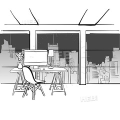 Office concept with creative desk (Hebstreits) Tags: art background business cartoon chair city computer concept corporate creative decor design desk desktop drawing empty evening flat furniture graphic illustration imac indoor inside interior internet job line mac modern monitor night office outline place professional room skyline space style table vector view white window work worker workplace workspace