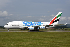 A6-EOC Airbus A380-861 EGPF 23-06-19 (MarkP51) Tags: a6eoc airbus a380861 a380 emiratesairlines ek uae expo2020 blue specialcolours glasgow airport gla egpf scotland airliner aircraft airplane plane image markp51 nikon d7200 nikon24120f4vr aviationphotography planeporn sunshine sunny