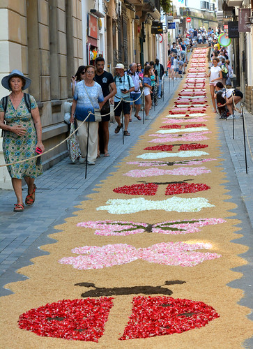 Entire street carpeted with flowers