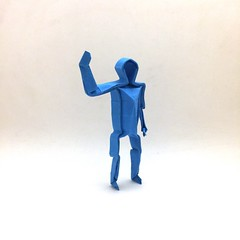 Origami Human Figure (Orimin) Tags: origami paper papercraft craft art handmade human standing legs arms head body wave volume blue mindaugas cesnavicius