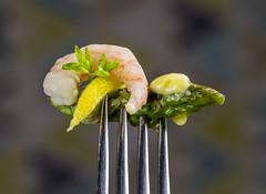 asparagus (alderson.yvonne) Tags: stylingfoodonafork 24thjune macromonday macro prawn asparagus butter melting yvonne yvonnealderson fork food