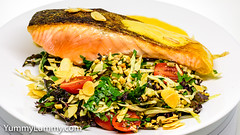 Pan-fried salmon served with Hollandaise sauce and a fresh leafy green salad (garydlum) Tags: balsamicvinegar cabbage hollandaisesauce kale lemonjuice oliveoil peanuts pumpkinseeds salmon sunflowerseeds tomatoes canberra australiancapitalterritory australia