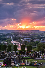 Summer Solstice 2019 - Strabane Cemetery (Gareth Wray - 13 Million Views, Thank You) Tags: water summer northern ireland graveyard cemetery grave yard stone tomb flowers bridge main fireworks melvin wall street ni uk scenic landscape riverscape sperrins county tyrone gareth wray photography strabane nikon d810 nikkor wide lens sky tourist tourism mourne river site visit country side grass reflection reflections british irish colourful derry council bank nature flowing photographer town lifford day vacation holiday europe footbridge pedestrian walk 70200mm 2019 solstice foot sunset red