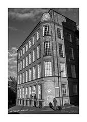 Leaving already? (PeteZab) Tags: building architecture people factory sunlight shadow urban victorian mono bw blackandwhite nottingham uk peterzabulis leaving case