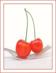 Cherry-Pickings - MM - Theme-Styling Food on a Fork (LOVE.OVER.LUST.) Tags: mm macromondays stylingfoodonafork fork steel cherry cherries green red food foodphotography whitebackground onwhite sundaylights