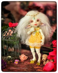 New wig for Rayne (twilitize) Tags: adventure adorable art beautiful beauty bjd bjdphotography elf elves ears fantasy fun fiction florida fairyland rayne realfee white whiteskin hair mohair
