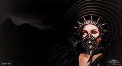 Golden Tips (- ̗̀ ÐίΔϺѺƝÐ ̖́-) Tags: diamond black portrait picture photo sl second life mask dark gold tips face harness head snapshot catwa shot