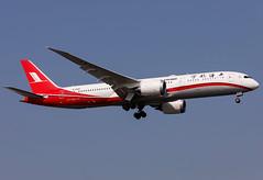 B-208X Shanghai Airlines B789 (twomphotos) Tags: plane spotting sha zsss evening landing rwy18l shanghaiairlines boeing b789 dreamliner