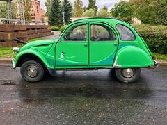 1985 Citroën 2CV 6 'I fly bleifrei' (Sameli) Tags: citroën 2cv citroen green car 1985 6 iflybleifrei suomi finland