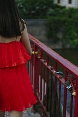Red Dress (youdoph) Tags: girl dress red body bridge city back hair beauty female