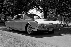 Tbird (Howard Sandler (film photos)) Tags: tbird thunderbird vintage car blackandwhite film 4x5 graflex crowngraphic fp4 xtol xenar