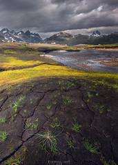 Home of the giants (Ron Jansen - EyeSeeLight Photography) Tags: norway summer mountains jotunheimen giants tops peaks mood sun dark grass creek clouds