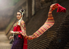 *** (Fevzi DINTAS) Tags: modeling pose portrait asian thailand trasitional cultural style costume people human lady girl beautiful flowers door wall outdoor stylish graceful lovely pretty cute artistic shawl scarf paza140 nationalgeographic