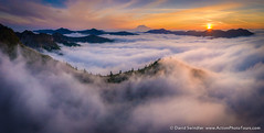 Foggy Pano (David Swindler (ActionPhotoTours.com)) Tags: fog rainier washington mountains peaks sunrise
