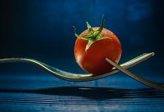 Tomato (1 of 3) (+Pattycake+) Tags: blue red macro metal fruit tomato waterdroplets babytomato vinetomato panasonicdmcgm1 ©patriciawilden2019 artsypicpatty