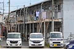 和泉橋本荘 (m-louis) Tags: 70300mm j5 nikon1 apartment car japan kaizuka osaka parking アパート 大阪 文化荘 日本 貝塚 集合住宅