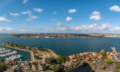 On A Clear Day (Ron Drew) Tags: nikon d850 california sandiego sandiegobay pacificocean coronadoisland pointloma seaportvillage bridge clouds panorama ocean bay boats harbor stitch hyatt morning