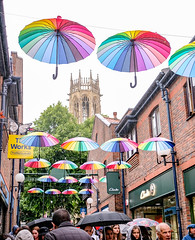 York - Coppergate umbrellas, June 2019 (nican45) Tags: colours church coppergate mirrorless fujifilm xt2 yorkpride june yorkshire allsaintspavement tower umbrella building 09062019 1024 2019 york wideangle 1024mm 9june2019 allsaints csc fuji fujinon pride xf1024mmf4rois england unitedkingdom