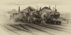 Misty morning (Harleycy3) Tags: locos steamengines trains sepia oldlook didcot timelineevents smoky aged