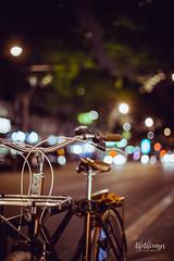 Streets of Paris, France (thethomsn) Tags: france paris bike bicycle fahrrad nacht night bokeh dof street streetphotography sidewalk primelens