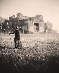Start. Again. (neverbe) Tags: 8x10 largeformat esuterbaselaplanat№5 360mm 3608 ilford film blackandwhite portrait girl castle