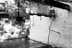 Abandoned lab (a.pierre4840) Tags: olympus om3 zuiko 35mm f2 35mmfilm kosmofotomono100 bw blackandwhite noiretblanc abandoned derelict decay ruined dorset england walls
