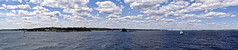 photo - A Windy Day on Narragansett Bay (Jassy-50) Tags: photo narragansettbay rhodeisland conanicutisland claibornepellbridge newportbridge bridge sailboat boat foxtrot clouds bay water panorama