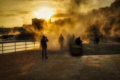 In Water Vapor (orkomedix) Tags: canon eosr rf24105f4l bilbao spain guggenheim museum water vapor sun sunset light silhouette phototrip