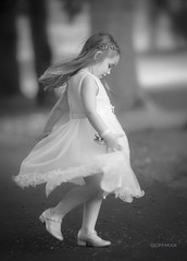 Untitled (Geoff Mock) Tags: flower girl wedding park outdoor bw blackandwhite portrait child movement twirl nikon70200mm nikond610