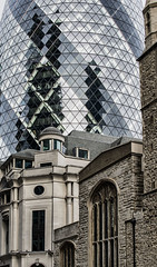 City Eras (PAJ880) Tags: gherkin office building church city london uk financial district britain england st mary axe foster shuttleworth