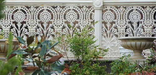 Kapunda. South Australian copper mining town from 1842 to 1878. Wonderful intricate pattern cast iron lace work on the veranda of an 1880s house  cast in the Hawke Foundry of Kapunda.
