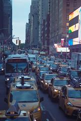 The Bustling New York City (Jovan Jimenez) Tags: canon eos rebel t2 nikon 100mm f28 fujifilm pro 400h 35mm film fuji fujicolor tax cab bus city bustling new york analog analogue ais 300x kiss7 nyc seriese eseries urban downtown plustek opticfilm 8200i ai car traffic
